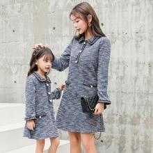 Платье с длинными рукавами для мамы и дочки; зимнее платье-свитер; Рождественская Одежда «Мама и я»; одинаковые комплекты для семьи; платье для мамы и ребенка