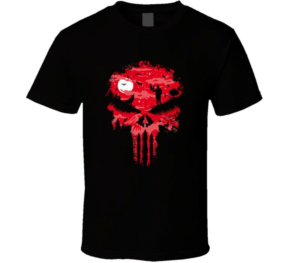 Punisher Skull Blood Comic Book Marvel Red Wolf T-Shirt New Fashion Tee Shirt image