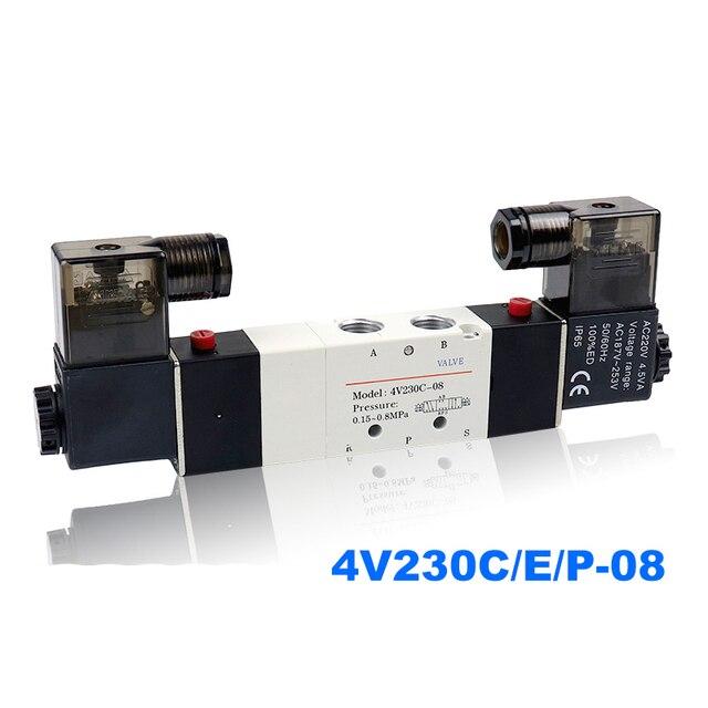 Pneumatic solenoid valve Double coil Port 1/8 1/4 24VDC 4V230C/4V230E/4V230P 08 5/3 way control valve
