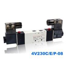 Porta pneumática da bobina do dobro da válvula solenóide 1/8 1/4 24vdc 4v230c/4v230e/4v230p 08 5/3 válvula de controle da maneira