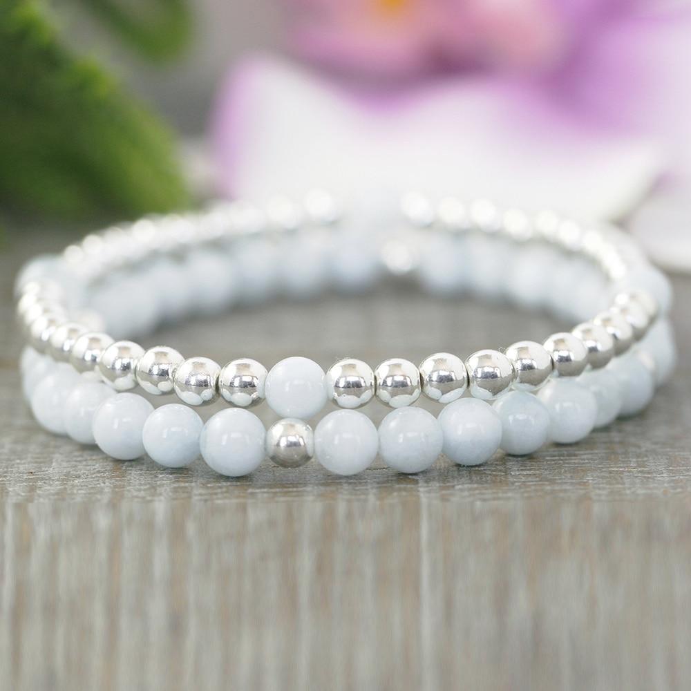 MG0949 6 mm Aqua marine Silver Plated Beaded Bracelet Set Dainty Yoga Bracelet For Women Anxiety Relief Boho Bracelet(China)
