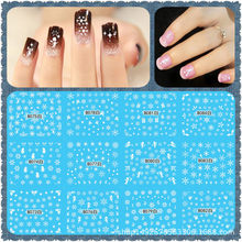 12sheet/Set Snowflake feathered letter Black/White Large Water Sticker Designs Nail Art Stickers Decals Water Tattoos B73-144(China)