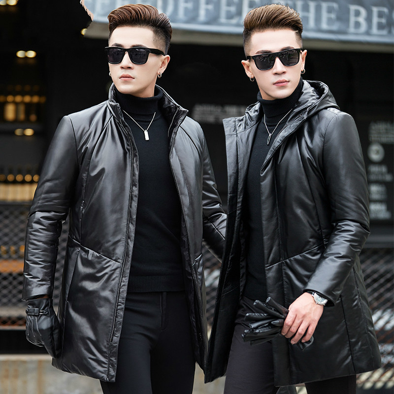 Genuine Leather Down Jacket Winter Coat Men Long Sheepskin Leather Jacket Hooded Masculine Coat G02-AHYYQ6803-1 KJ824