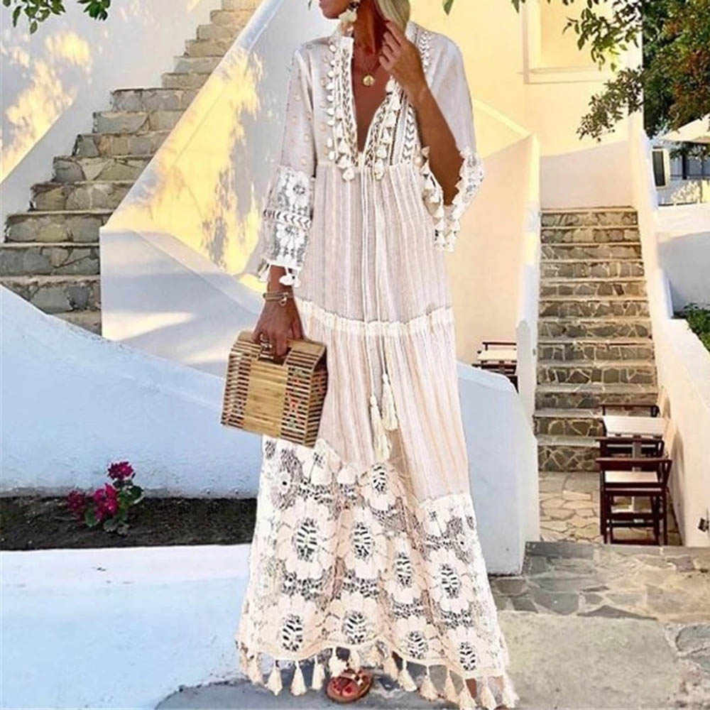 Summer Autumn Sexy V-Neck Boho Dress Tassel Hollow Out Maxi Dresses Women 2020 New Bohemian Floral Printed Beach Dress Vestidos