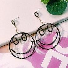S925 Silver Needle Korea  Smiley Earrings Fashion Temperament European and American Personality
