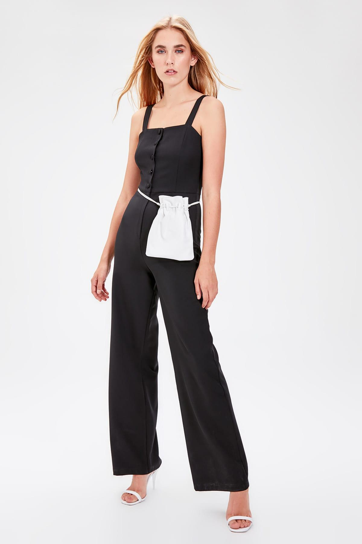Trendyol Black Button Detail Jumpsuit TWOAW20TU0011