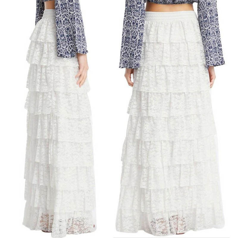 Fashion solid Cake skirt lace high waist sexy summer  Women Long Puffy Full Lace Elegant Maxi Skirt Slim ball gown High Waist