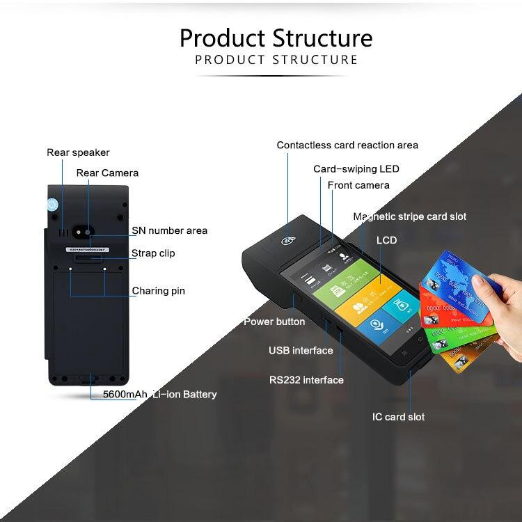 Caixa registadora inteligente/máquina da posição do andróide/máquina handheld da exploração do código da caixa que imprime tudo-em-um/equipamento comercial