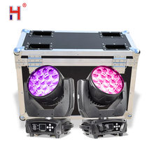 Led zoom lavagem 19x15w lira rgbw movente cabeça luz feixe dmx móvel para disco dj clube mostrar com caso do vôo