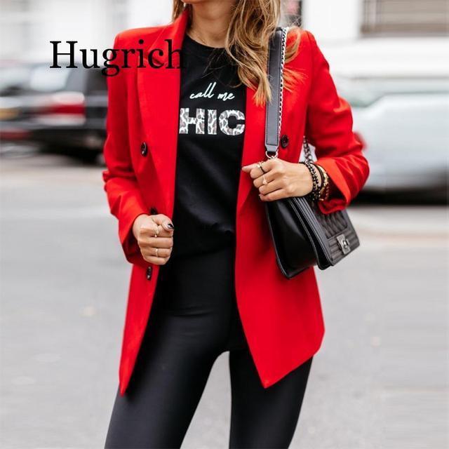 Blazer de moda de Color puro de manga larga para mujer 2020 4