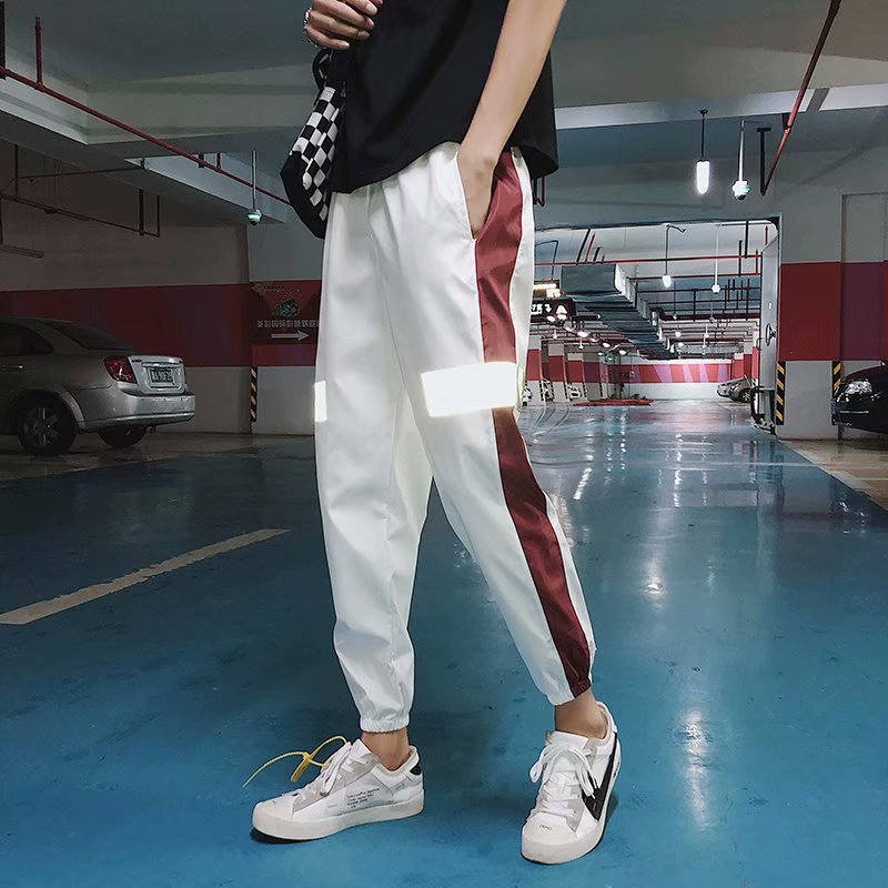 Autumn & Winter Korean-style Reflective Printed Pants Men COUPLE'S Hip Hop Loose-Fit Trend Teenager Casual Ankle Banded Pants