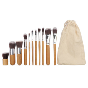 Image 3 - 11PCs Natural Bamboo Makeup Brushes Set High Quality Foundation Blending Women Beauty Cosmetic Make Up Tool Set With Cotton Bag