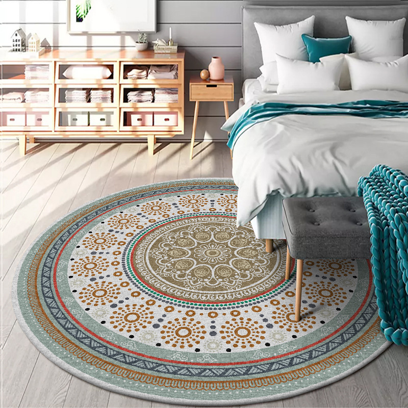 Concise Fresh Nation Wind Circle Round Geometric Printed Carpets Rugs For Home Living Room Bedroom Non-slip Land Mat