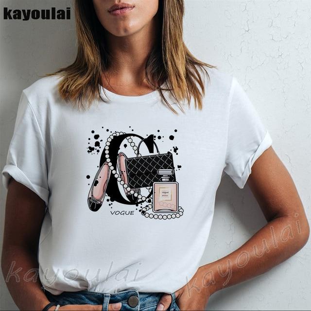 Moda feminina camiseta marca de flor perfume garrafa vogue branco t camisa estético saco impressão batom saltos altos streetwear topos