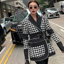 Self-Cultivation Jacket Female Trend EWQ Tweed Full-Sleeve Autumn Winter Long Split-Joint