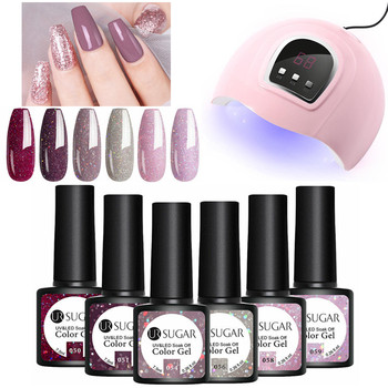 UR SUGAR Gel Nail Polish Set UV Gel Polish 6PCS Nail Kit with UV Lamp Top Coat Set For Nail Art Varnish  3
