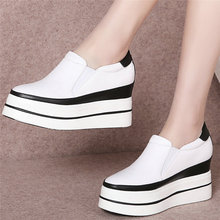 Fashion Sneakers Women Genuine Leather Wedges High Heel Ankle Boots Female Round Toe Platform Pumps Shoes Slip On Casual Shoes qutaa 2018 women pumps slip on fashion women shoes platform black round toe westrn style square heel women pumps szie 34 39