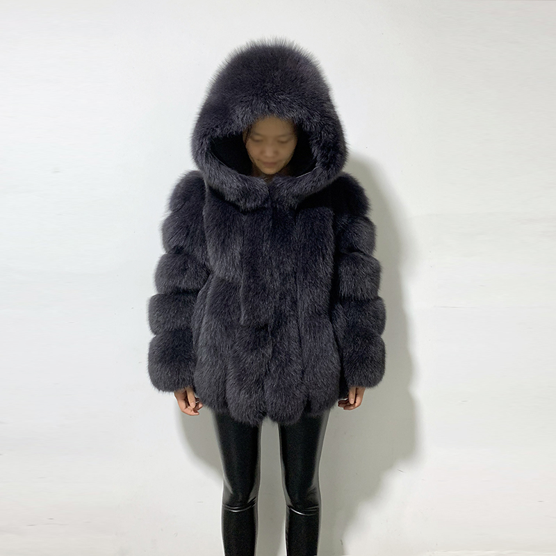 Rf1991 Winter Fashion Fox Fur Coat With Big Hood Super Warm Genuine Leather Woman's Real Fur Jacket For Russian Market