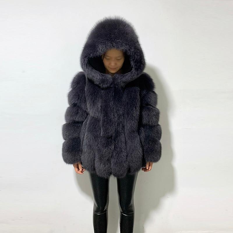 Rf1991 Winter Fashion Fox Fur Coat With Big Hood Super Warm Genuine Leather Woman's Real Fur Jacket For Russian Market