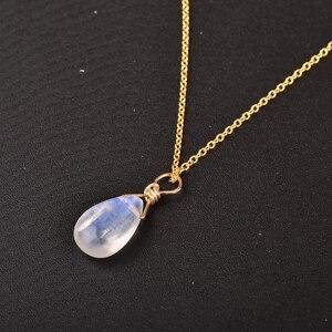 Image 5 - ITSMOS naturalny kamień księżycowy US 14k złota biżuteria łańcuszek naszyjnik prosty elegancki biżuteria dla kobiet Romatic prezent