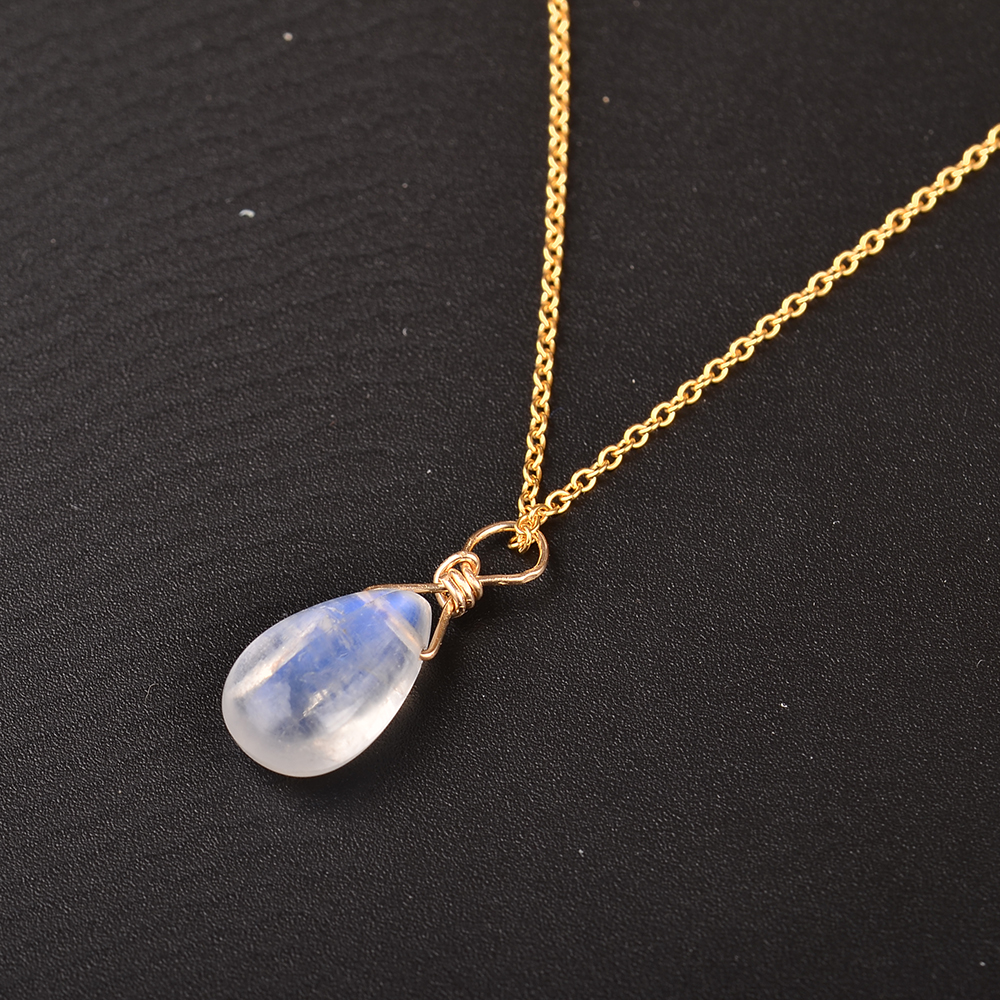 Image 5 - MosDream Natural Moonstone US 14k gold jewelry Chain Pendant Necklace Simple Elegant Jewelry for Women Romatic Gift-in Necklaces from Jewelry & Accessories