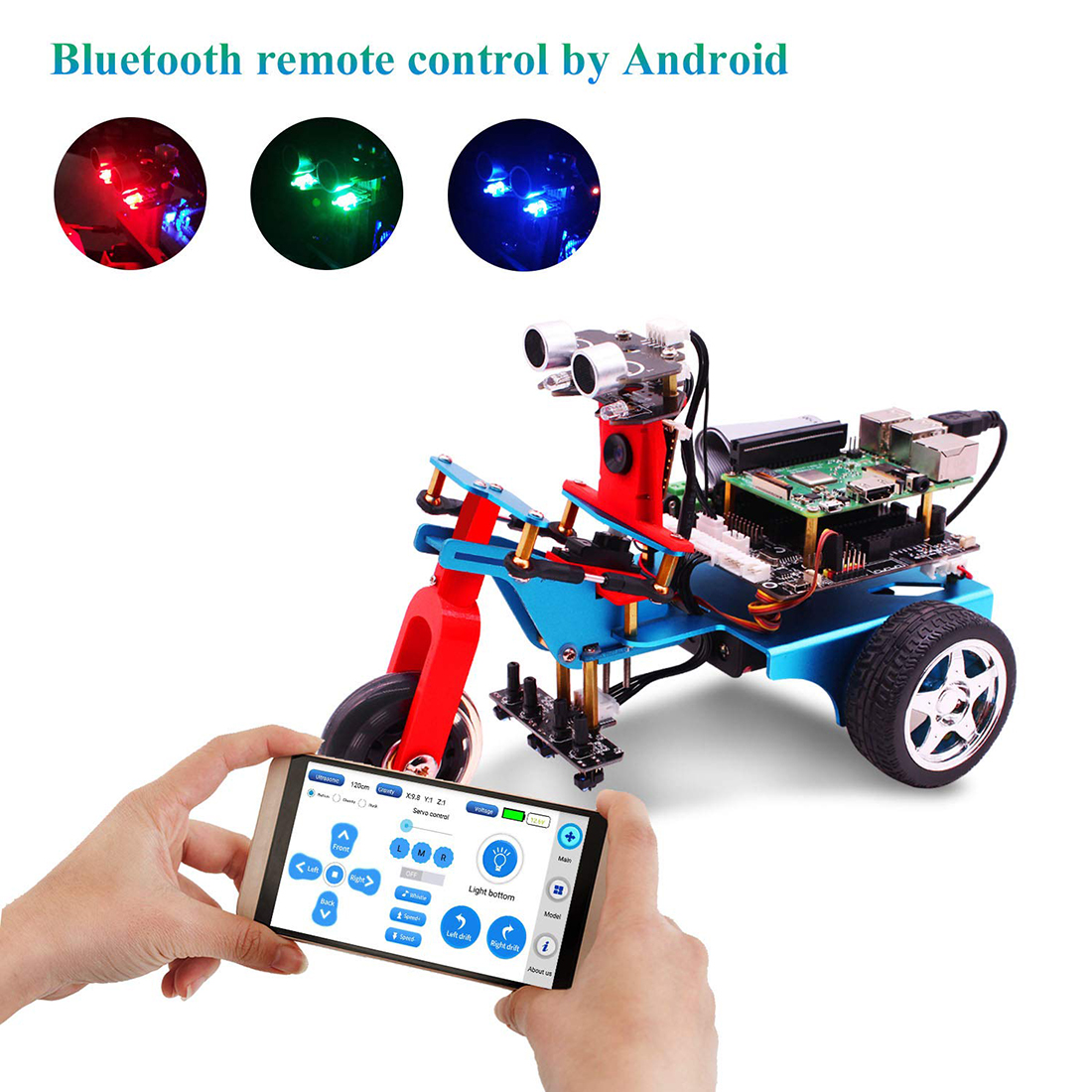 TrikeBot Smart Programmable Robot Car Kit Programmable Learning With HD Camera DIY Robot Kit With 1G Raspberry 4B