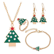 Fashion Christmas Gold Christmas Tree Jewelry Set Necklace/Bracelet/Earring/Ring Jewelry Sets Gift for Christmas Day Dropshiping merry christmas santa claus jewelry sets lovely enamel father christmas dangle earrings ring necklace bracelets jewelry set gift