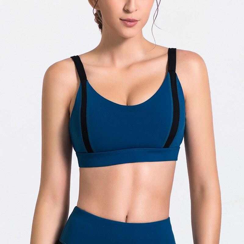 Women Sports Bras Padded Medium Support Shockproof Yoga Bra Gym Workout Fitness TOP Running Vest Racerback Jogging