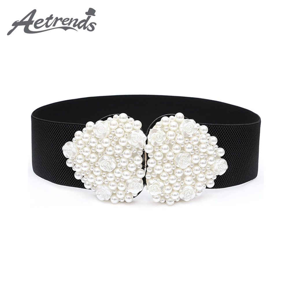 [AETRENDS] Women Artificial Pearl Wide Elastic Stretched Waist Cinch Belt Cummerbund Waistband Belts D-0115