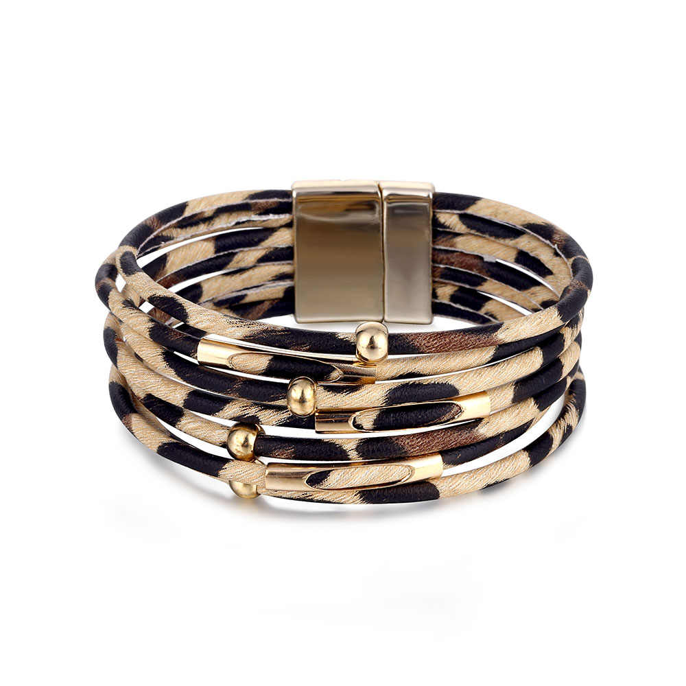 TOMOSH Gold Beads Charm Bracelets For Women 2019 Leopard Leather Wrap Bracelets Ladies Jewelry Femme Accessories Gifts