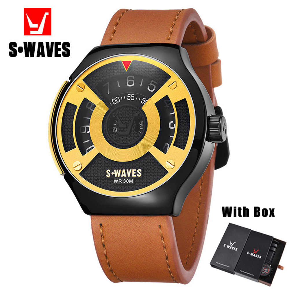 SWAVES Unique Watches Mens 2019 Casual Fashion Luxury Watch Men With Box Quartz Waterproof Leather Montre Homme Dropshipping
