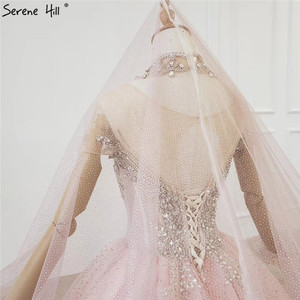 Image 5 - Gradual Change Pink Luxury High end Wedding Dresses 2020 Diamond Beading Sexy Bridal Gowns HX0074 Custom Made
