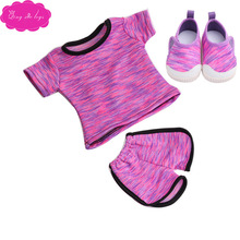 18 inch Girls doll clothes Tracksuit ball uniform sport shorts with shoes American newborn dress toys fit 43 cm baby dolls c52