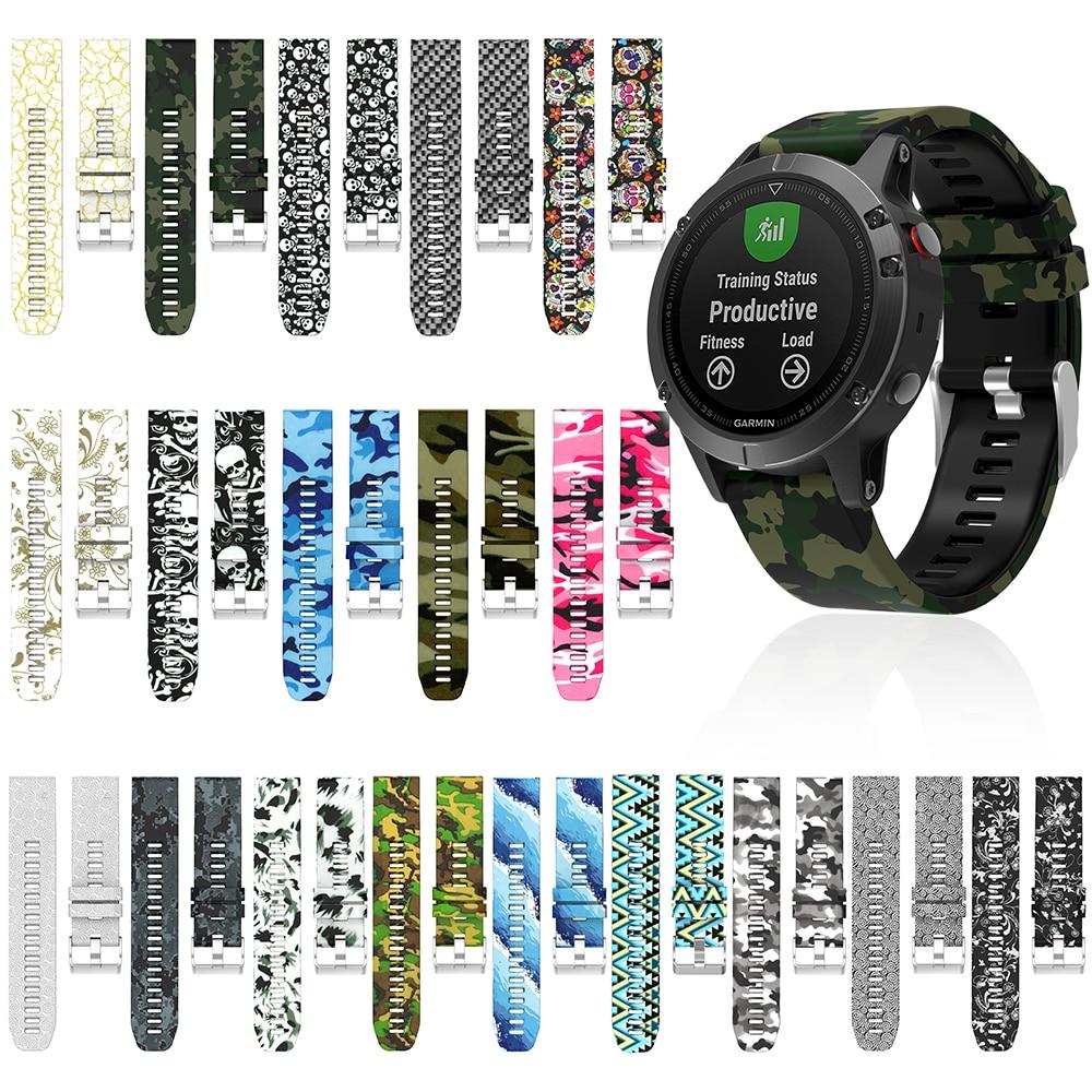 Bracelet en Silicone imprimé fleuri 22 mm pour Garmin Fenix 5/5 Plus/Forerunner 935/45 Smartwatch bracelets de remplacement bracelet de Sport