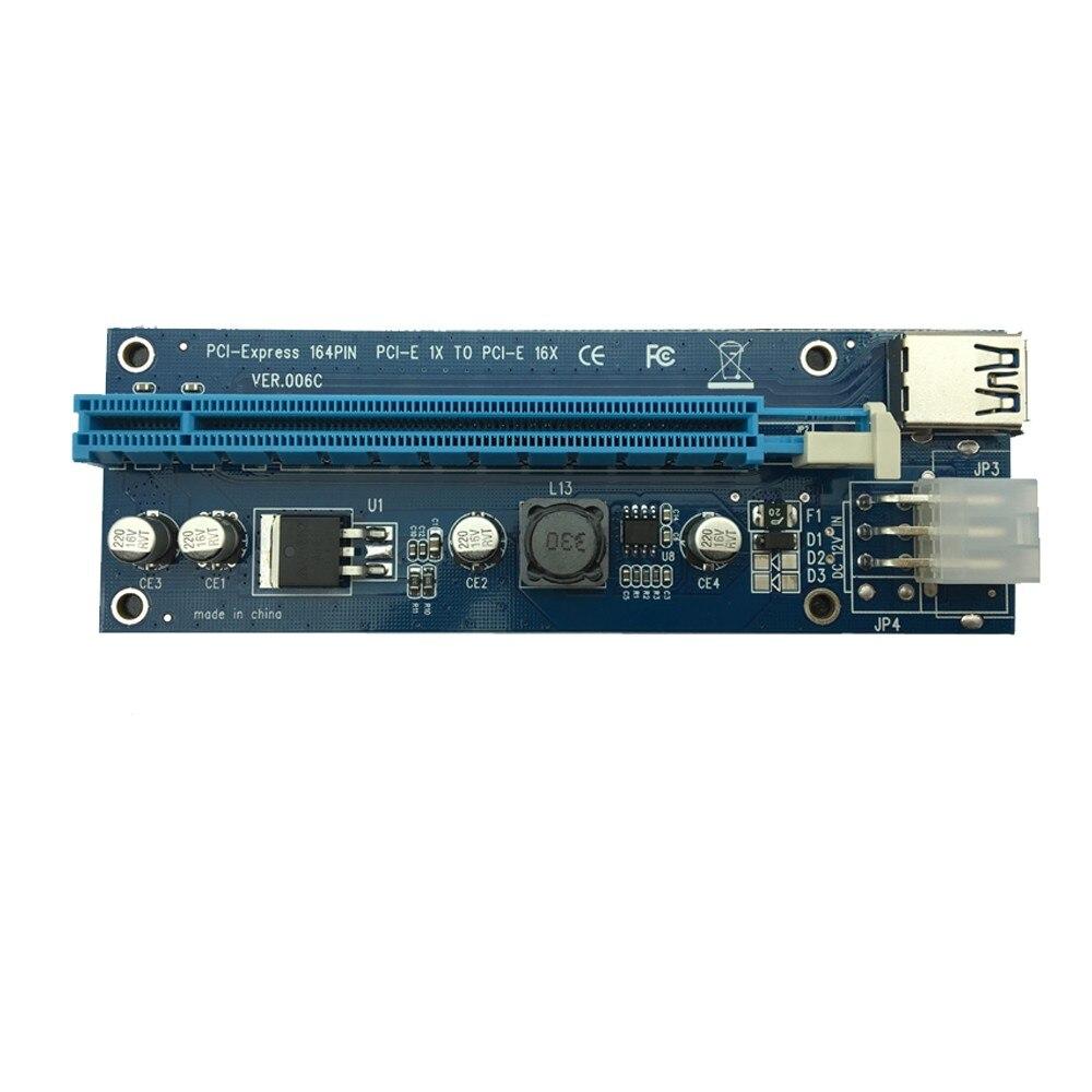 18 pièces Premium qualité 60cm PCI-e Express 1x à 16x Extender Riser carte avec SATA alimentation USB câble pour les graphiques pour l'extraction de bitcoin