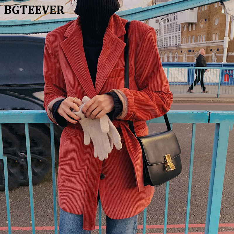 BGTEEVER Notched Collar Single-breasted Pockets Female Blazers Winter Warm Casual Loose Lace-up Women Corduroy Suit Jackets 2020