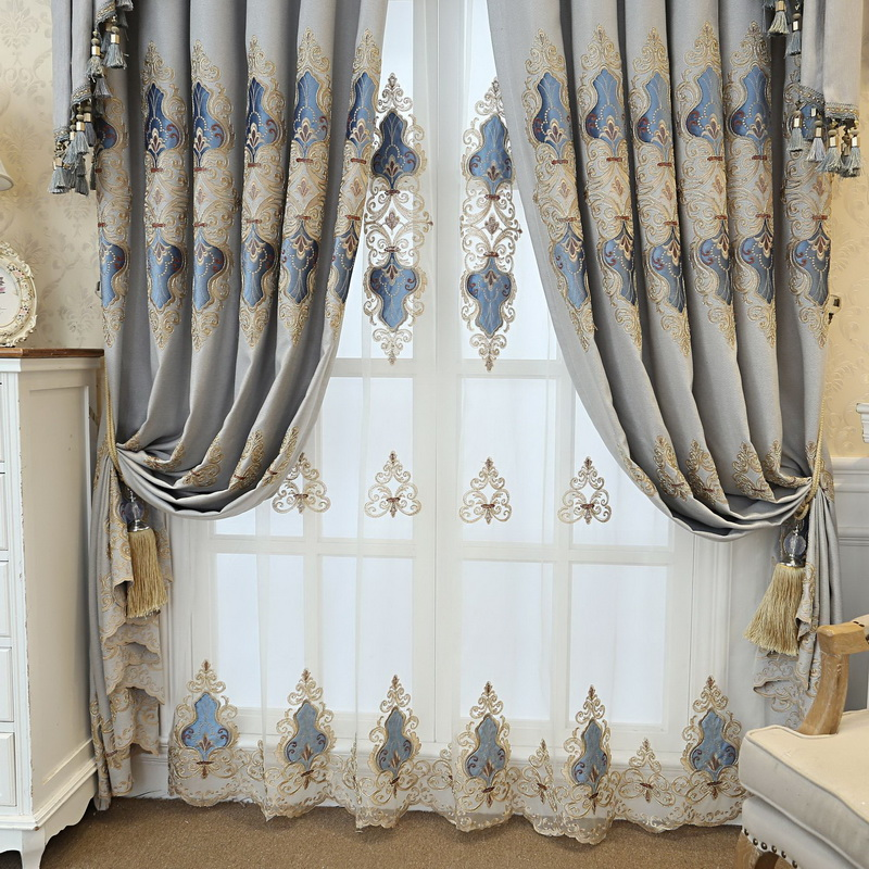 Ready Made Window Curtains For Living Room Luxury Embroidery Blinds Blackout Curtain Fabric And Tulle For Villa BedroomM123#4