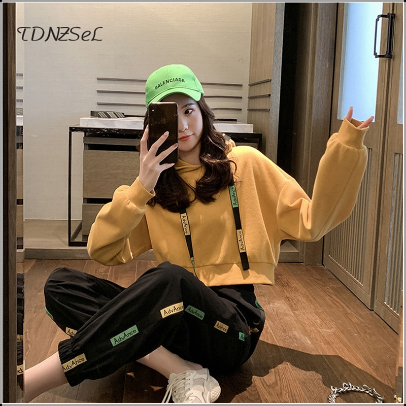 Casual Hoodies Crop Tops Tracksuit For Women Letter Print Tassel Sweatshirt Harem Pants Female Sport Two Piece Set Korean Style