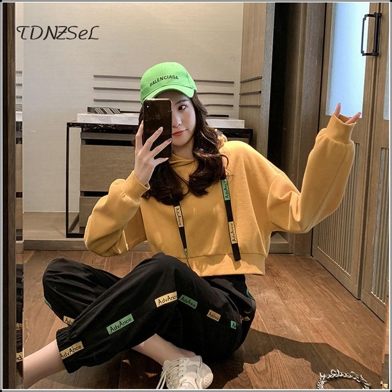 Casual Hoodies Crop Tops Tracksuit For Women Letter Print Tassel Sweatshirt Harem Pants Female Sport Two Piece Set Korean Style