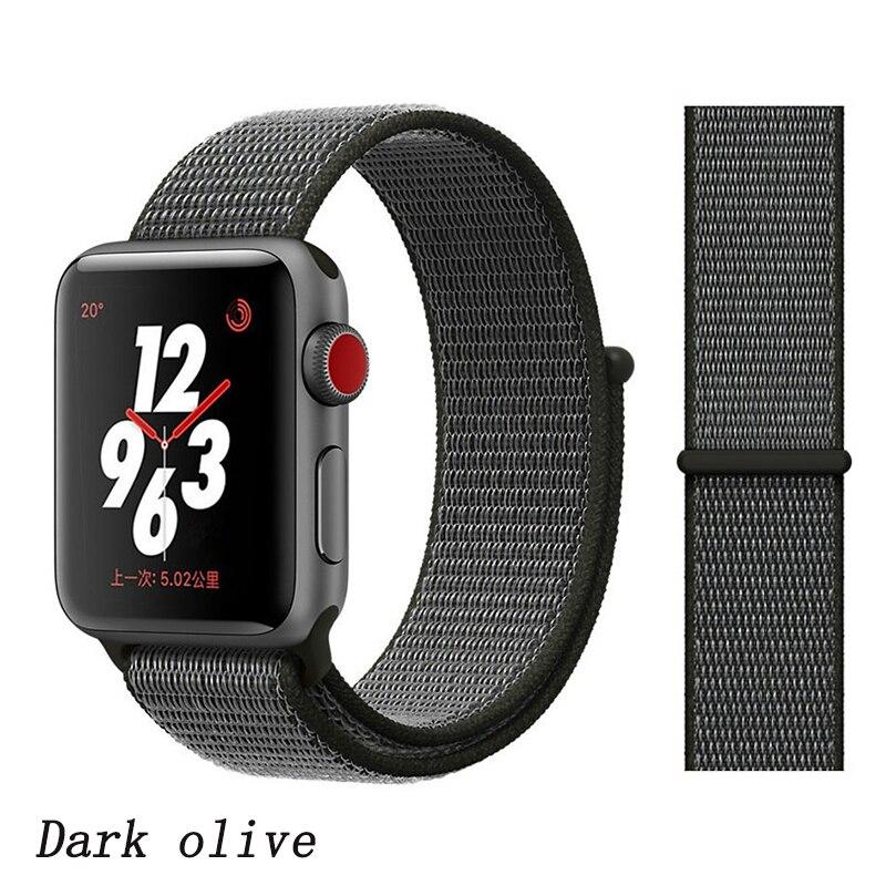 Спортивная петля ремешок apple watch band 42 мм 38 мм apple watch 4 3 band iwatch band 44 мм 40 мм correa pulseira 42 44 нейлоновый ремешок для часов - Цвет ремешка: Deep olive