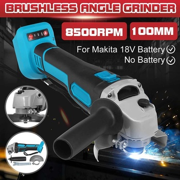 100mm 8500RPM Max Brushless Cordless Impact Angle Grinder Head Tools Kit Power Tool Cutting Machine for Makita Battery with LED