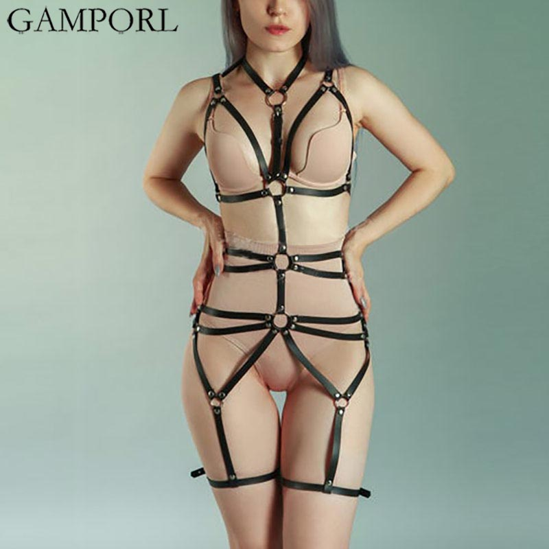 GAMPORL Sexy Ladies Leather Harness Underwear Set Waist To Leg Bondage Cage Goth Garter Belts Women Straps Bra Garter Body Belts