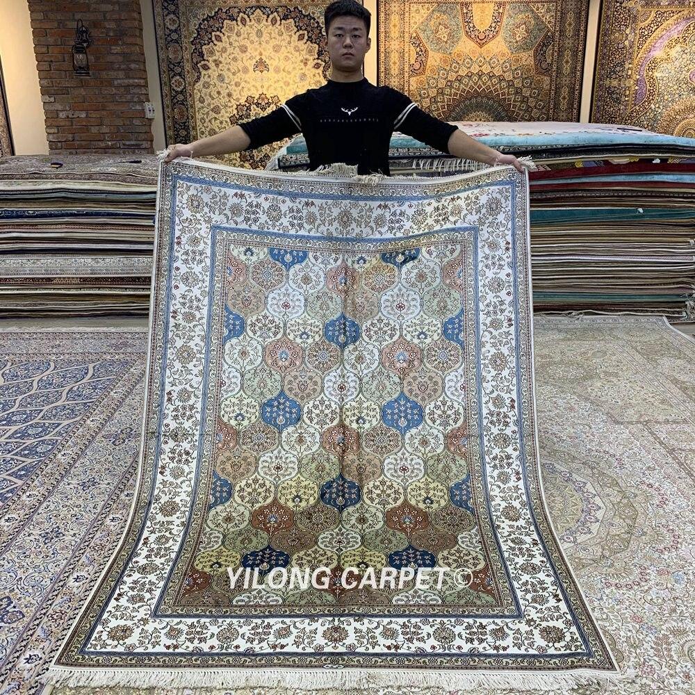 Yilong 5'x7 'persan soie tapis vantage noué à la main traditionnel oriental tapis (HF321B)
