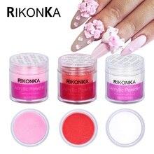 Rikonka prego acrílico em pó 3d dicas manicure para unhas polonês prego glitter builder cristal claro branco em pó arte decorações