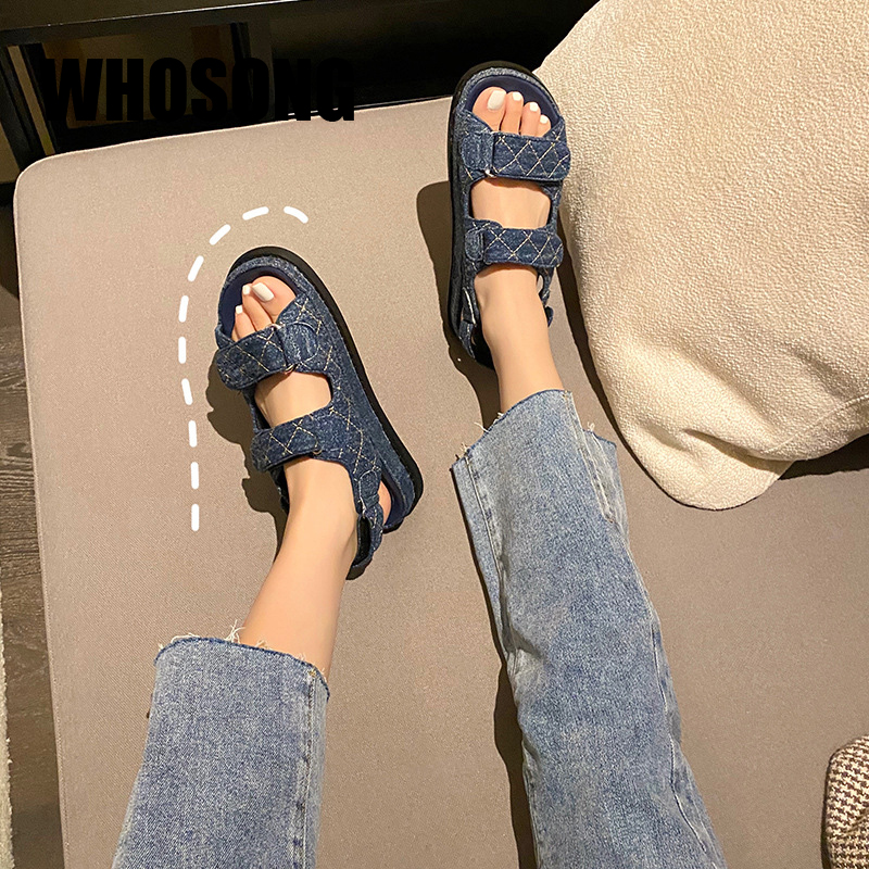 New Summer Women Shoes Girls Beach Sandals Woman Real Leather Flats Ladies Shoes Female Blue Brand Sandals Zapatos De Mujer 2020