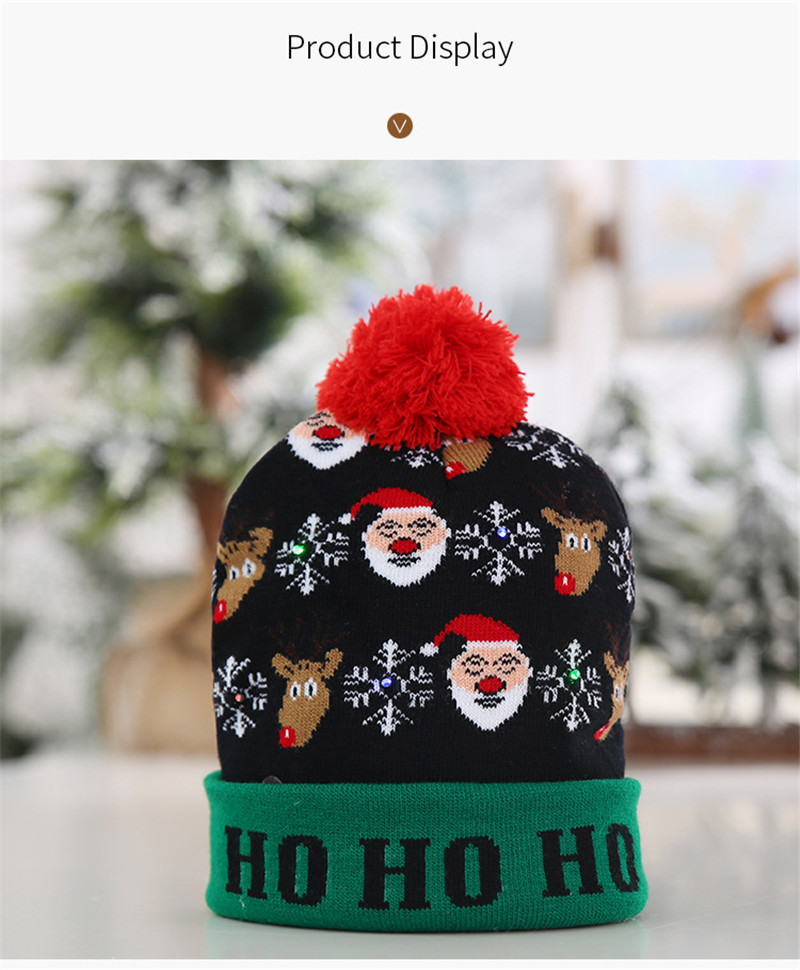 H4d42dfed02dc48a2a8b228f1dfd0236eb - LED Light Christmas Hats Beanie Sweater knitted Christmas Santa Hat Light Up Knitted Hat for Kid Adult For Christmas Party