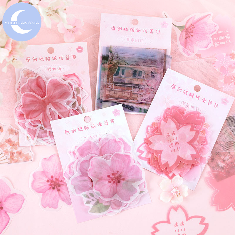 YueGuangXia Japanese Girlish Sakura Loose Leaf Kawaii Litmus Memo Pads Original Creative Celebrating Spring Memo Pads 4 Designs