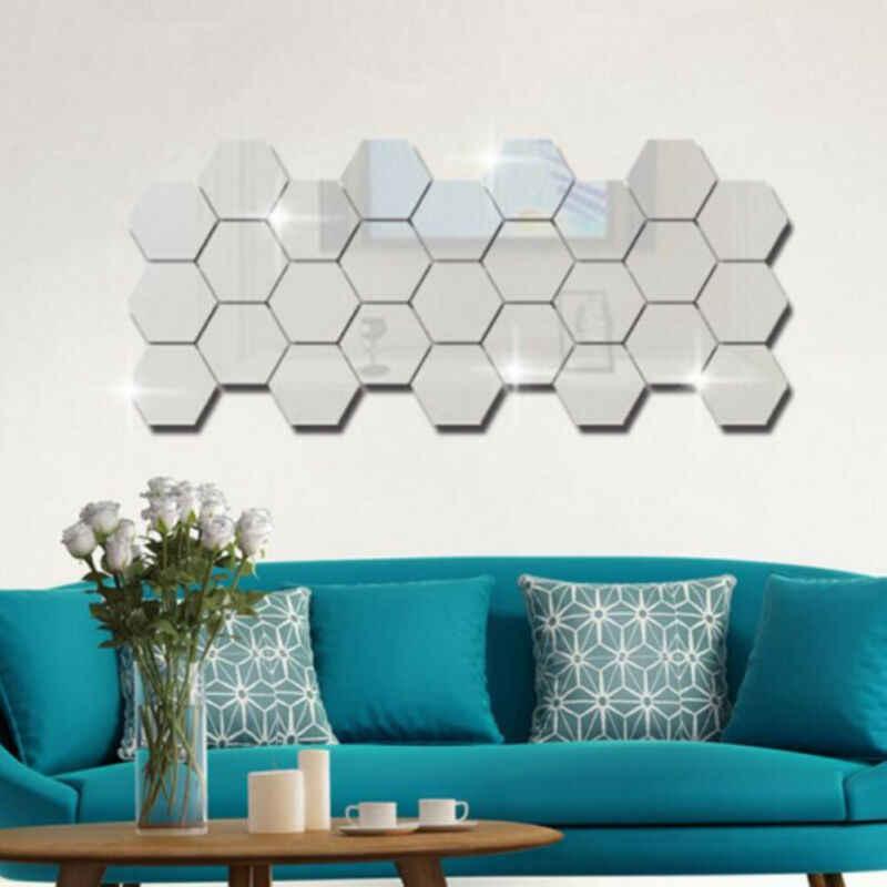 12pçs 3d 36x espelho hexágono, adesivo removível de parede, decalque de decoração de casa, arte diy adesivo de parede decoração