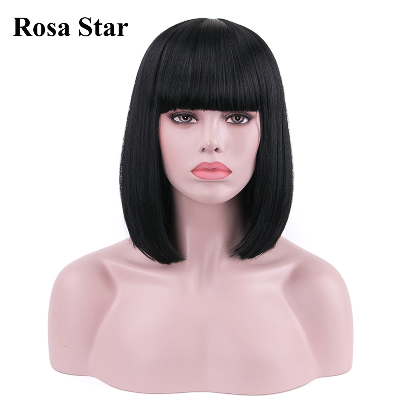 Rosa Star Synthetic Colorful Straight Short Bob Hair Wigs With Bangs Heat Resistant Daily Cosplay Costume Wig For Women