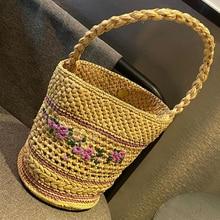 Bohemia Floral Straw Bucket Bag Women Handbag Woven Embroidery Rattan Shoulder Bag Summer Travel Beach Bags for Women 2021 Purse